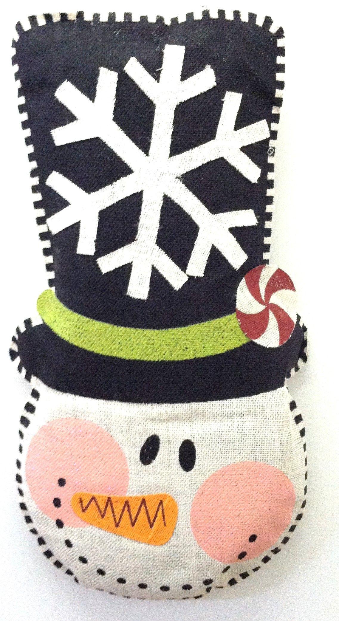 Snowman 3D stuffed burlap wall hanging $37