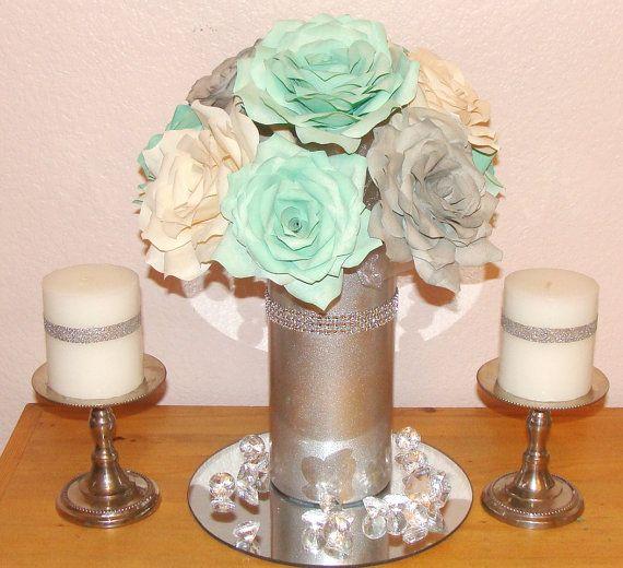 Mint Green Wedding Decoration Ideas: Mint Green Centerpiece Using Paper Flowers