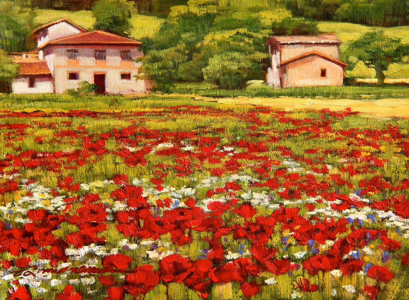 """Poppies in Spring""  oil painting by Caroline Zimmermann"