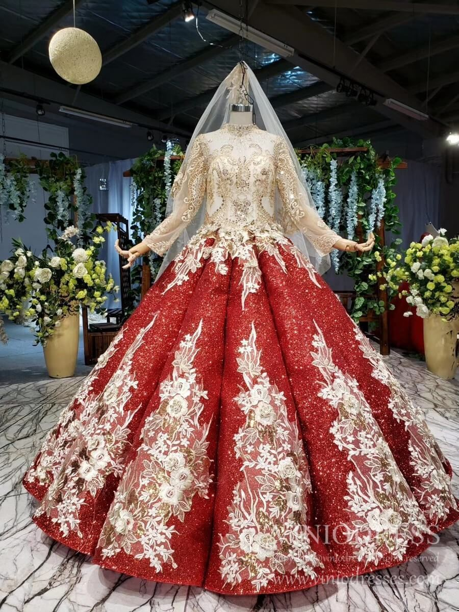Luxury Vintage Red Sequin Couture Dresses With Matching Cathedral Veil Fd1121e Floral Prom Dresses Couture Dresses Vintage Ball Gowns [ 1200 x 900 Pixel ]