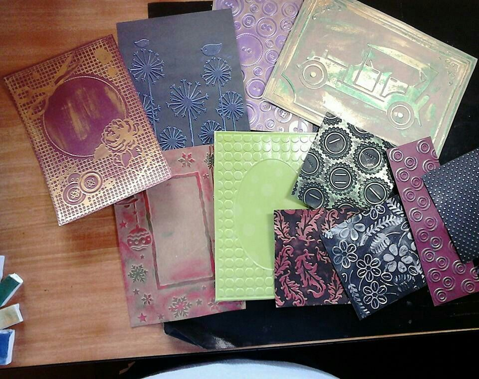 Embossing folders and inca gold