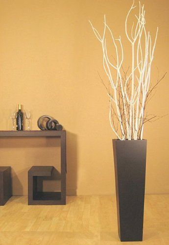 Green Floral Crafts White Mitsumata In Tall Black Floor Vase By 6499 Dramatic Branches Can Be Used As Is Or Formed