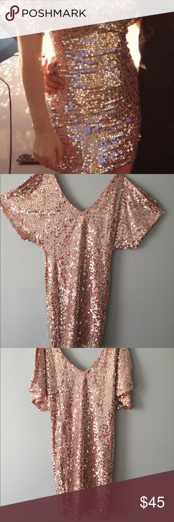 Sequined dress rose gold colour boutique dresses and shoulder