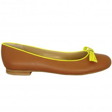 44c8001b5ff9 Peter Kaiser Ines brandy leatherand neon yellow pumps - comfortable modern  pumps that follow neon trend