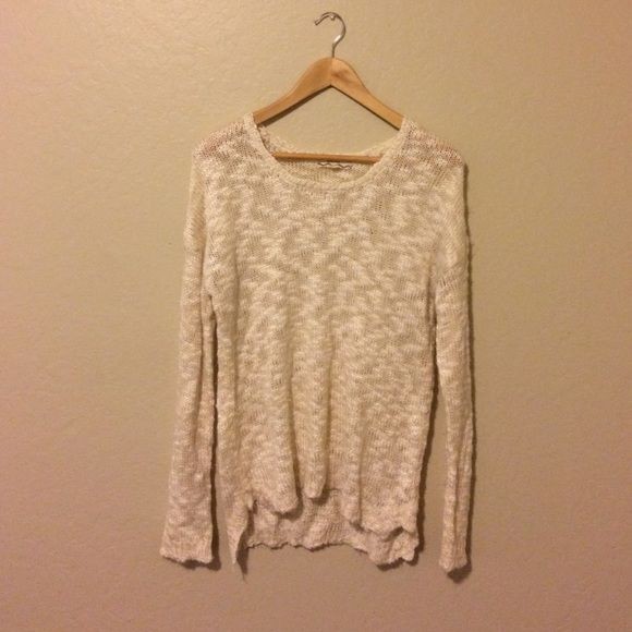 Cream colored knit oversized sweater Somewhat sheer, very stretchy ...