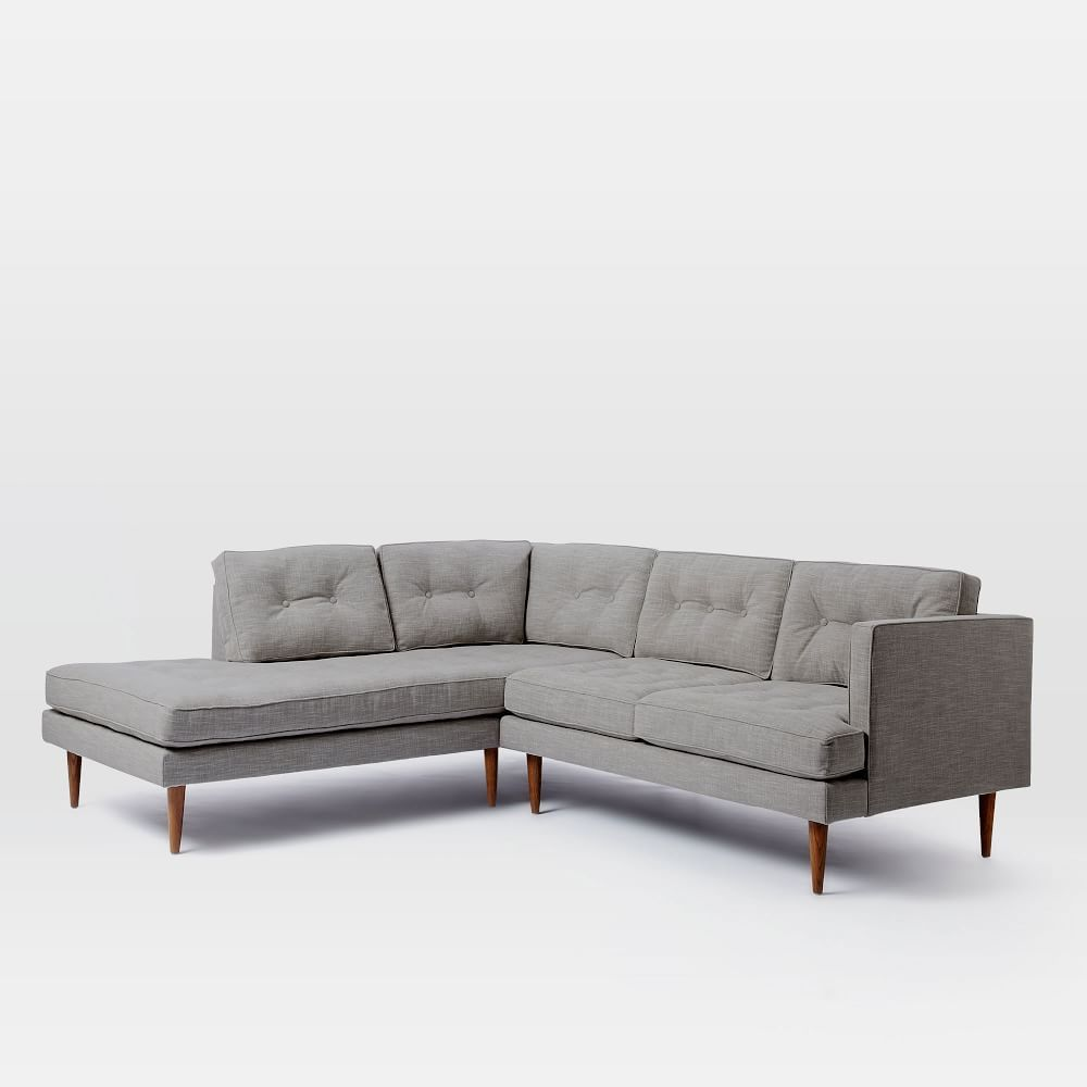 Peggy Mid Century Terminal Chaise Sectional Modern Sofa