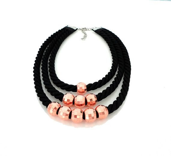 Black Tribal Inspired Rope Statement Necklace by ChichiKnots, $30.00
