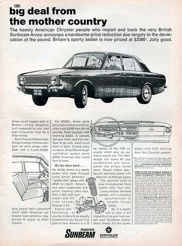 1968 chrysler rootes sunbeam advertising road track april 1968 sunbeam sedan cars sedan pinterest