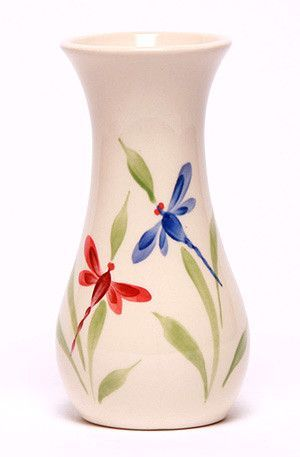 Ceramic Bouquet Vase Dragonfly Pottery Painting Designs