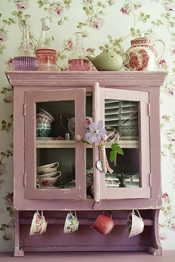 Pink and lilac shabby chic vintage cabinet home decor for Decor 2 sell