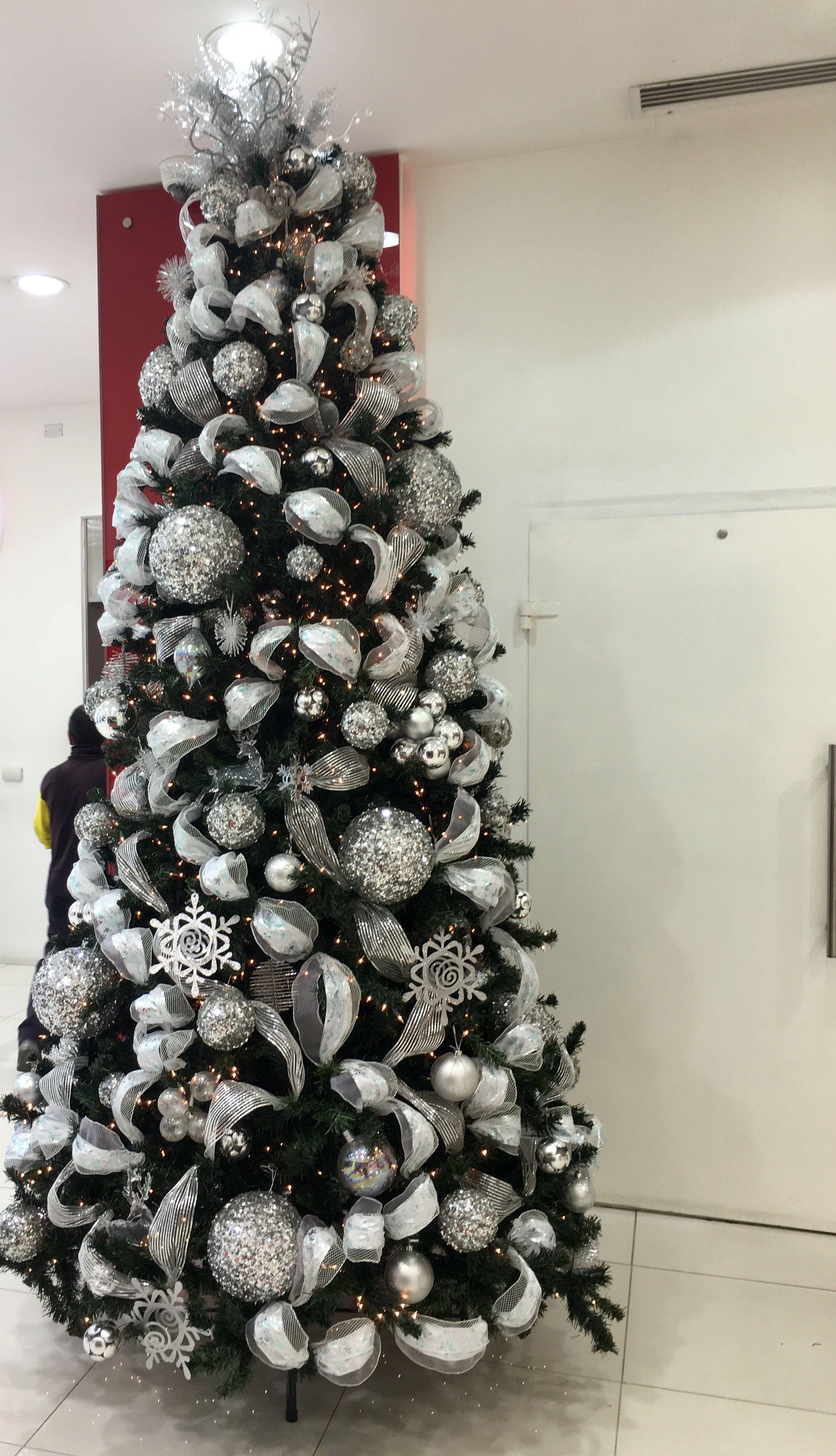 Rbol de navidad plateado silver christmas tree - Arboles de navidad blanco ...
