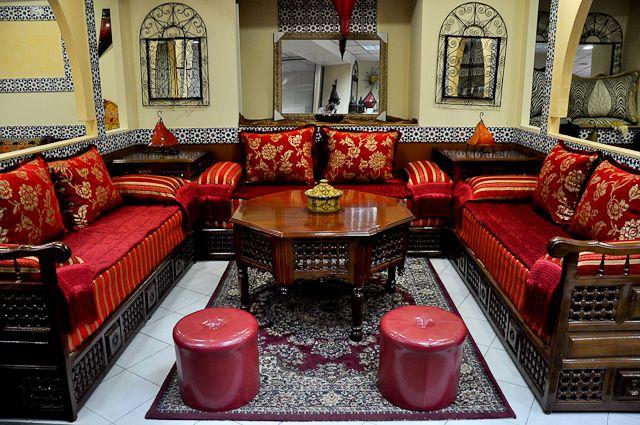 Salon Marocain Traditionnel (Acajou Et Doré) De Hasnae.com