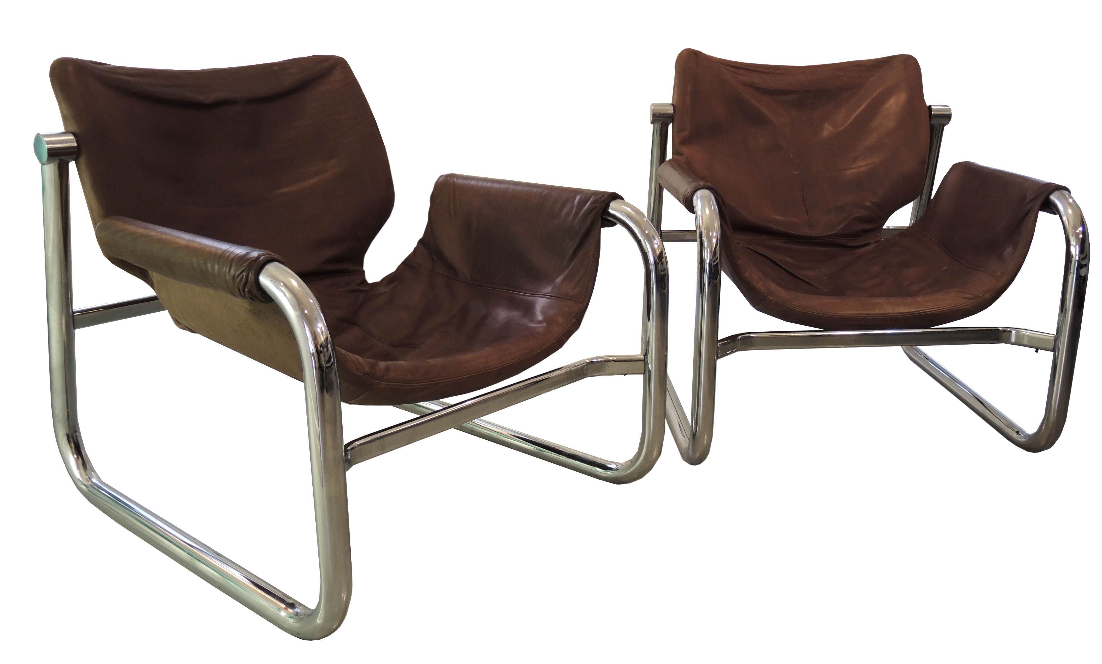 Maurice Prentice Burke Chrome And Leather Lounge Chairs For Arkana. 1970s.