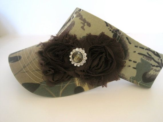 Camouflage Golf Sun Visor with Brown Chiffon Flowers and Smokey Brown  Accent Golf Hat Sun.. Hat Acce 7b0348e4356