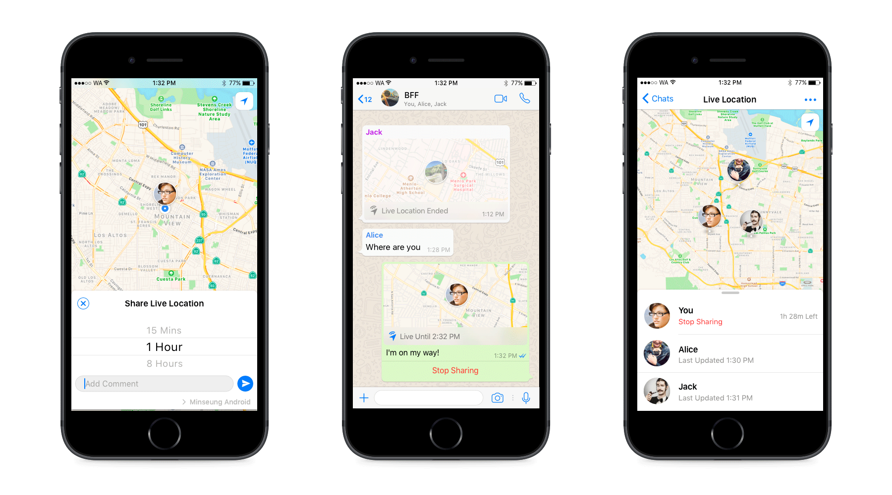 Share your live location on WhatsApp; only if you want