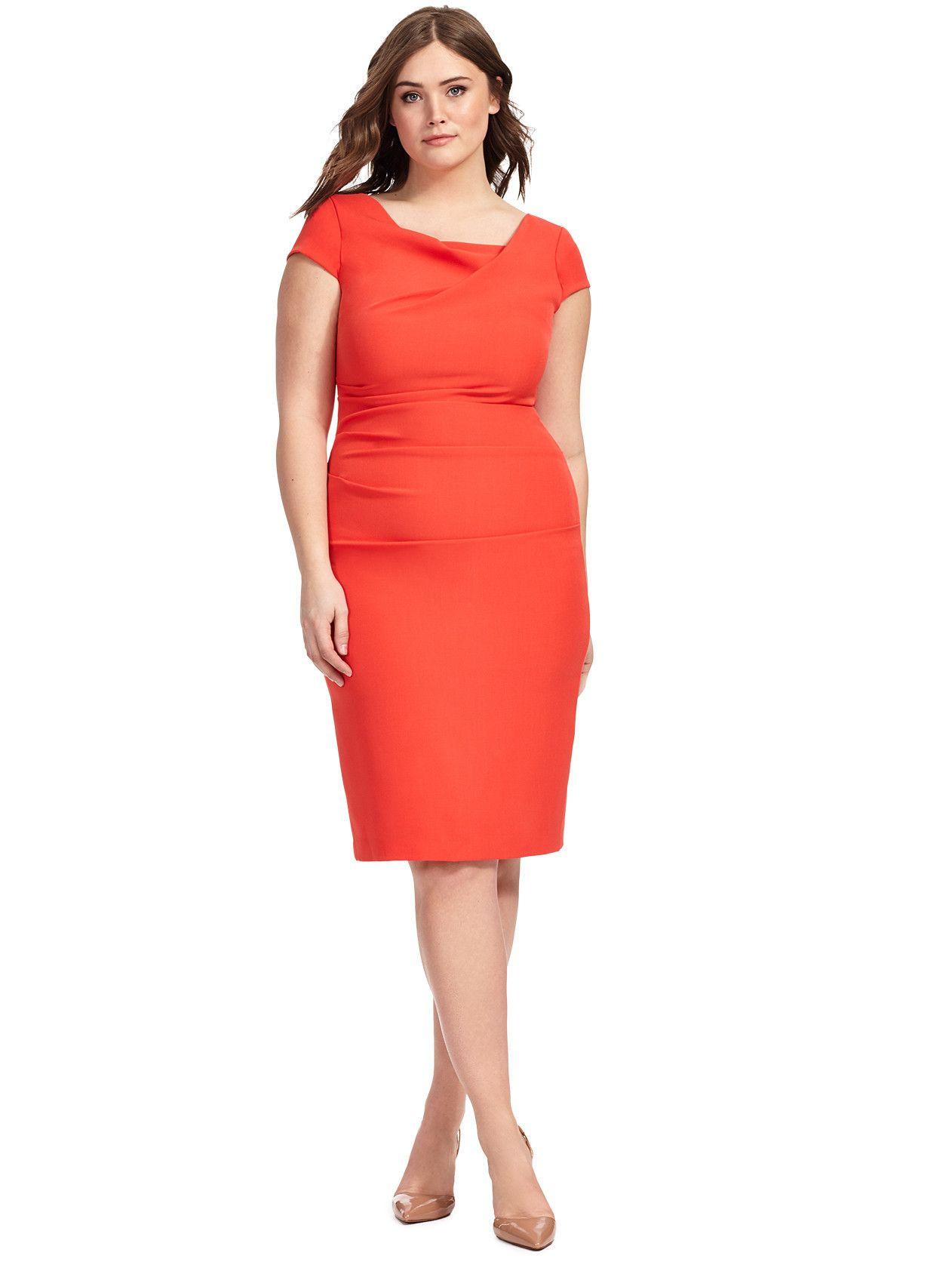 Bright Cayenne Cowl Neck Dress