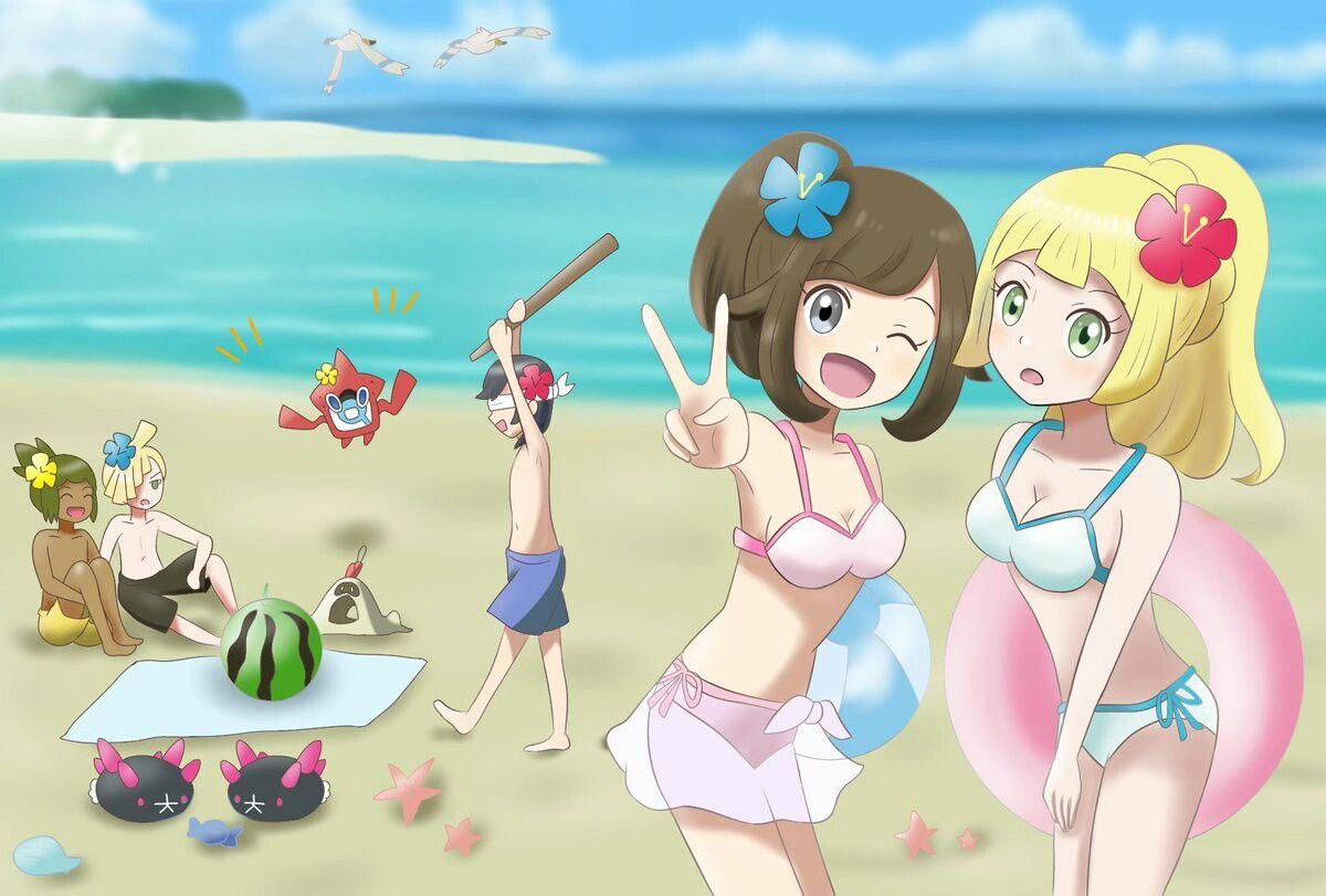 Beach girls and pokemon by xong on deviantart