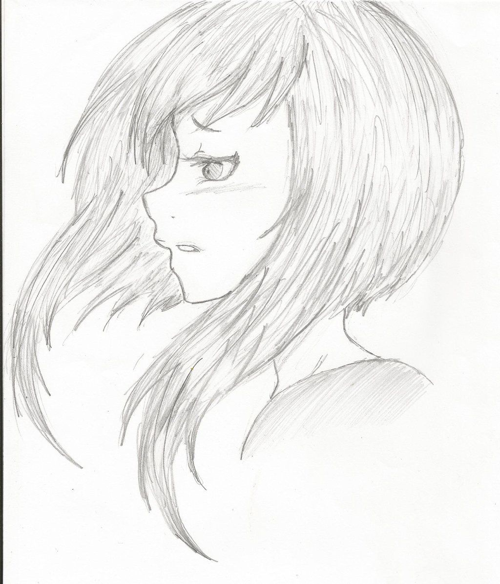 Girl Anime Drawing Side View Pencil Sketch
