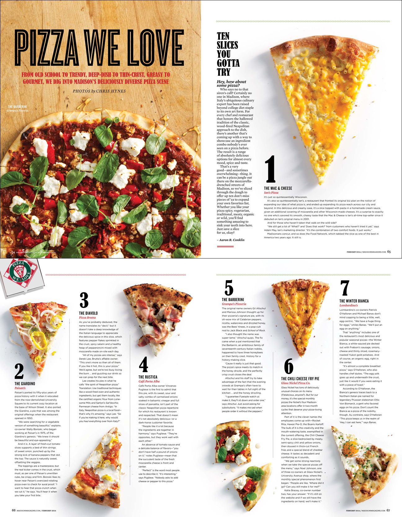 I like this page layout for this pizza magazine. I like how simple and easy it gives the information.