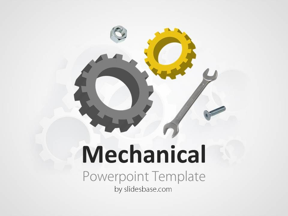Mechanical engineering gears cogs wrench powerpoint template slide1 powerpoint template with mechanical engineering theme gearscogs on a blurred background good template for technology cars engineering or construction toneelgroepblik Gallery