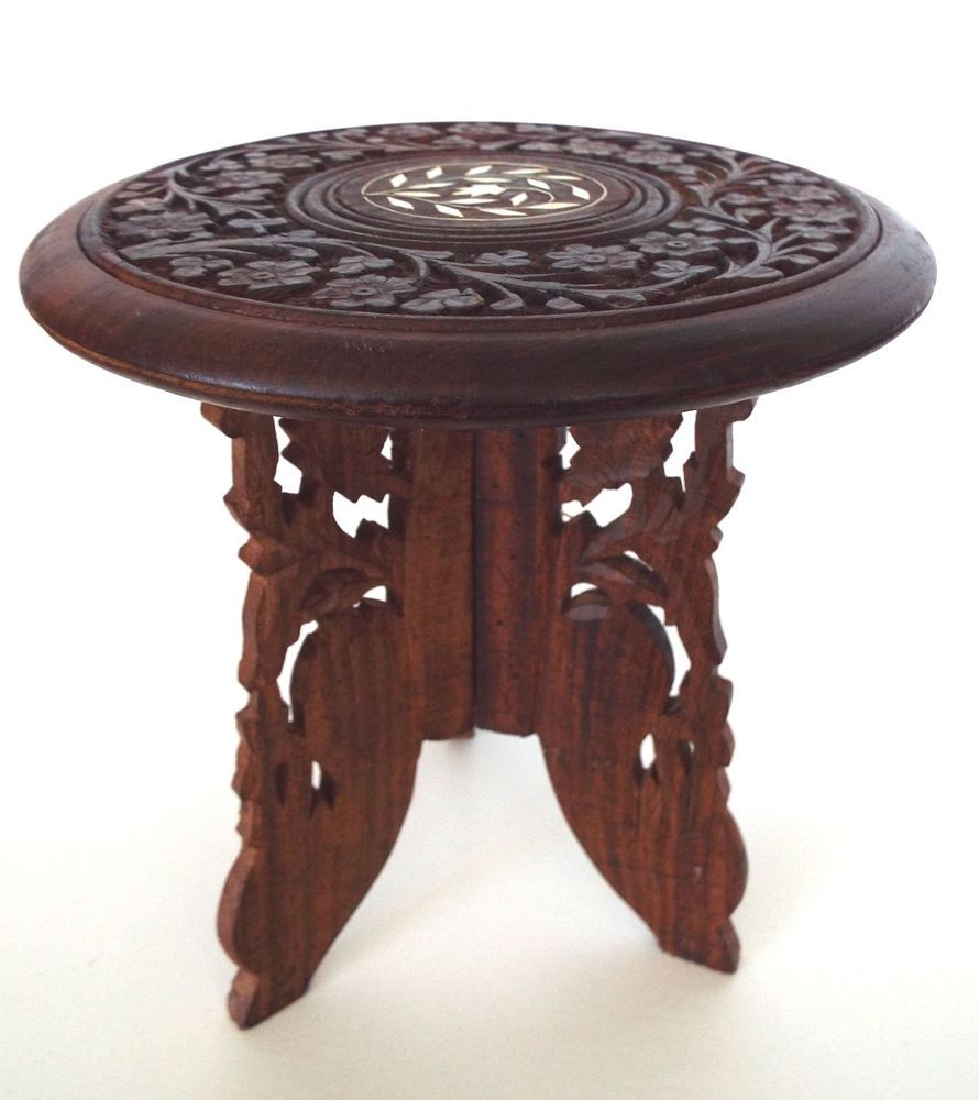Antique Carved Wood Stool Made In India Ornate Portable Table Display Art Deco Antique Console Table Photo On Wood Wooden Bookends [ 1000 x 890 Pixel ]