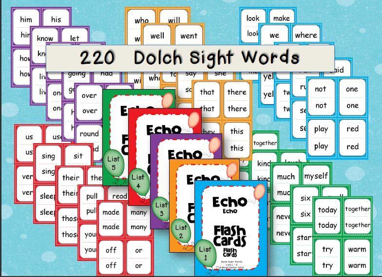 Sight Word Flash Cards \u0027Echo Style\u0027 Lists 1-5 English, Reading - dolch sight word flashcards
