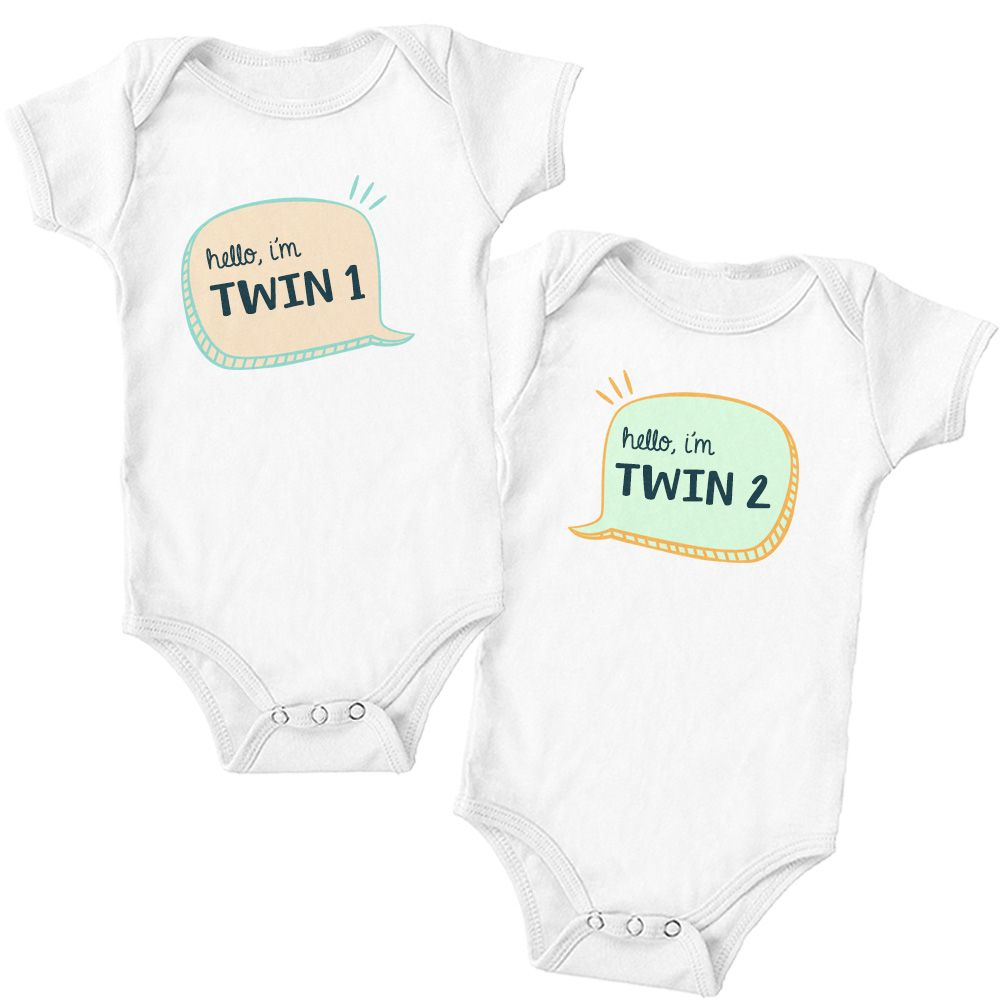 bfaf0cdc2 Twin 1 and Twin 2 Baby Onesies Twin 1 and Twin 2 Baby Onesies, Cute Twin  Homecoming Outfits, Twin Photoshoot Outfits, Funny Twin Onesies, Twin Baby  Gifts ...