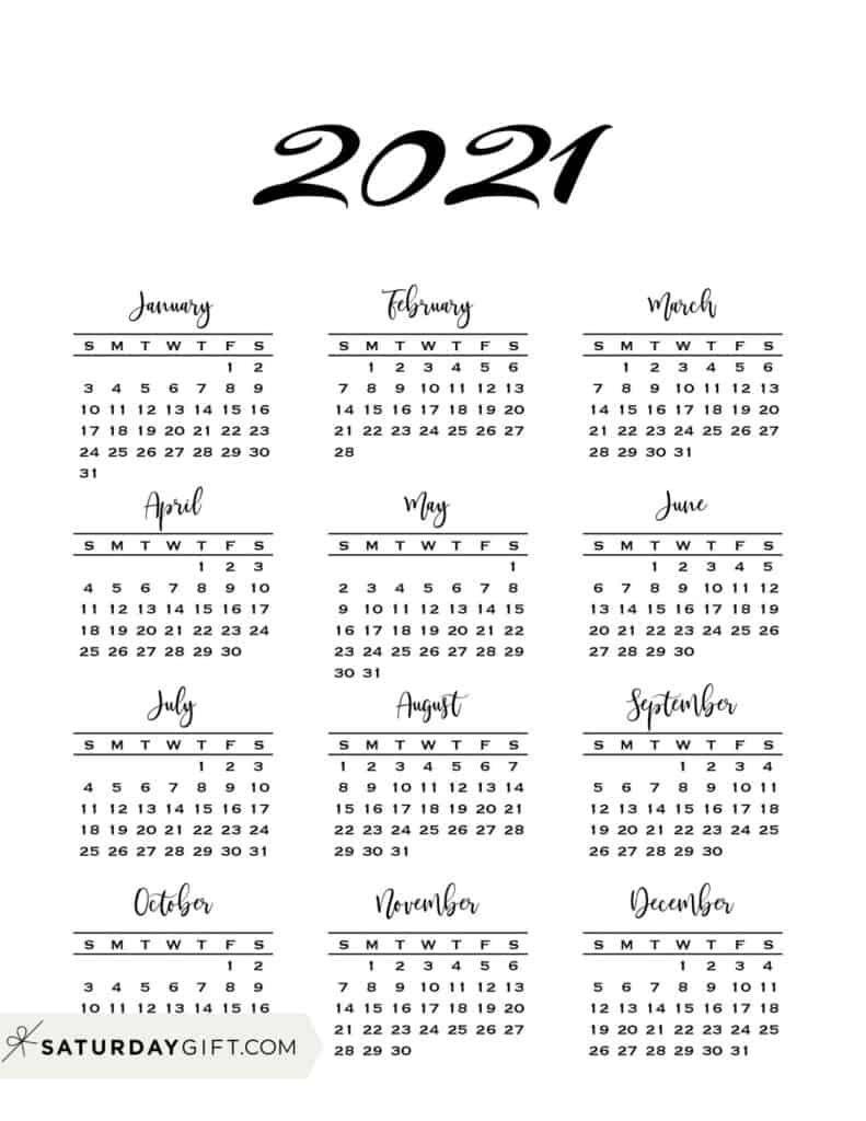 Minimal One Page Calendar for 20 Free Printables   Calendar ...