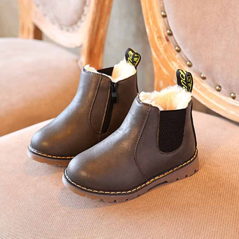 Baby*Kids Chelsea Shoes Winter Warm Fur Lined Shoes Ankle Boots Boys Girls boots