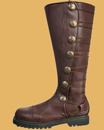ca35f07b0 Men s All Brown Leather Lace-up Knee-High Medieval Ren Boots