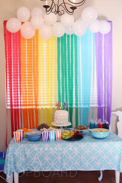 Rainbow birthday party backdrop great ideas pinterest for Party backdrop ideas