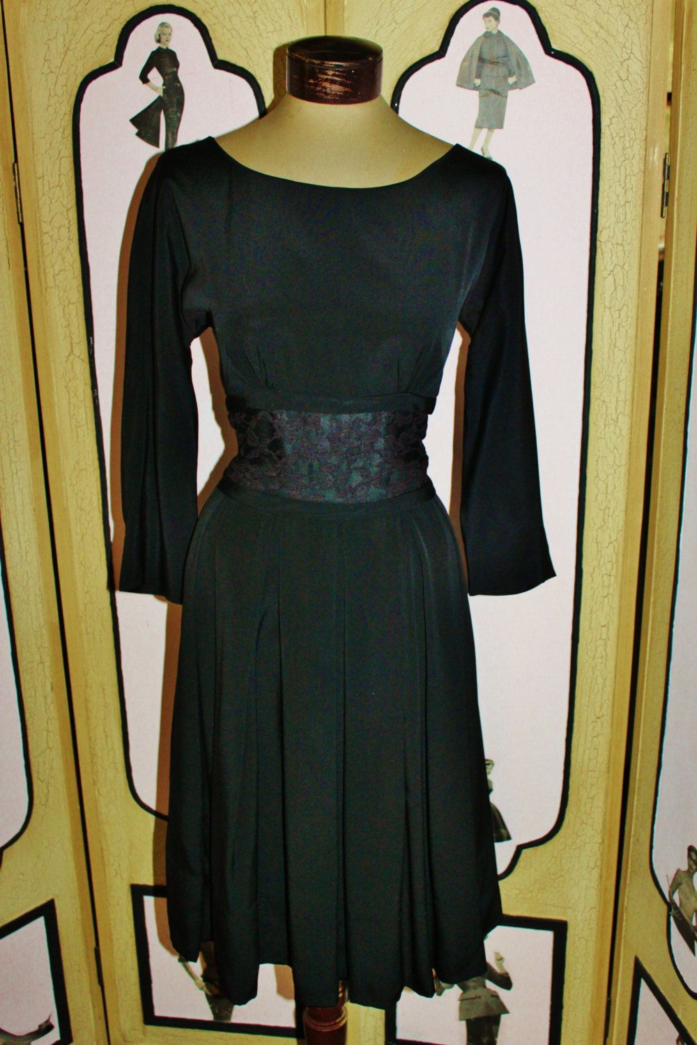 624c8e77e98 Vintage 1950 s Lace Inset Cocktail Dress in Black by Leslie Fay ...