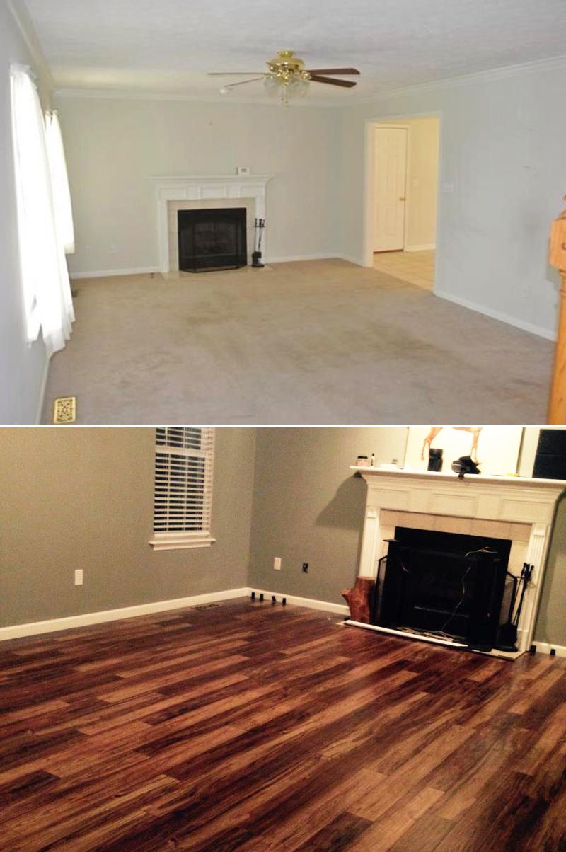 Top Makeovers We Bought A House That Needed To Be Brought Into - Painting laminate floors before and after