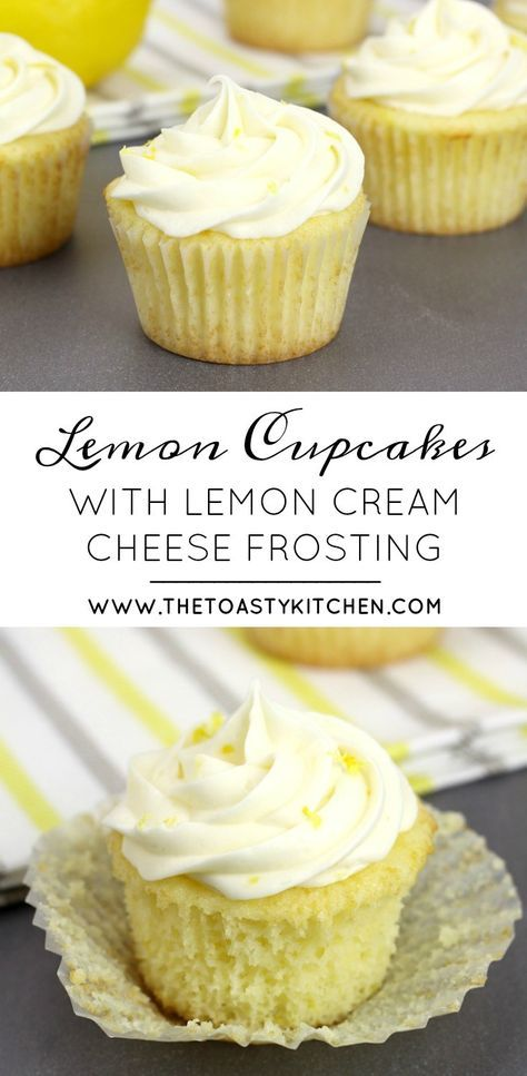 Lemon Cupcakes with Lemon Cream Cheese Buttercream Frosting - The Toasty Kitchen #lemonbuttercream
