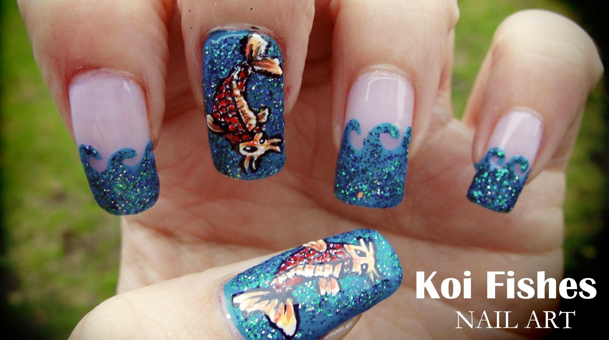 Koi Fishes nail art | Nail Art | Pinterest | Fish nail art, Fish ...