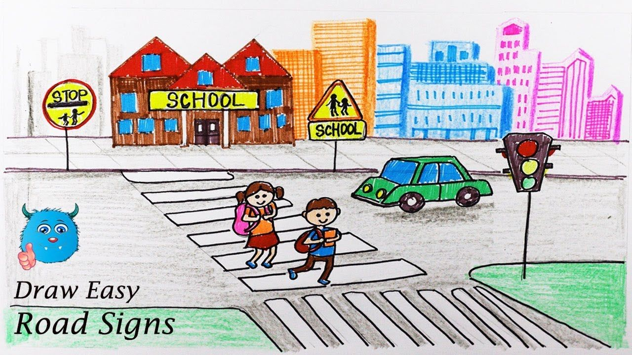 Road Safety Drawing for School Kids School bus