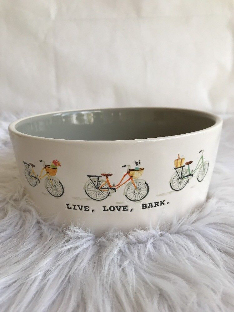Rae Dunn Magenta Live Love Bark Bicycle Dog Food Water Bowls Large