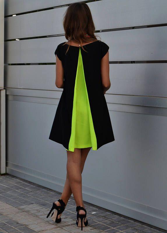 e4691ea96b1 Renata Giglio Black Neon Green Pleat Back Little Dress   Fashion ...