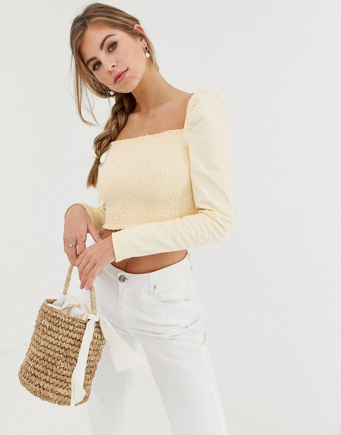 b28806acbde9f8 DESIGN denim cropped shirred top in lemon yellow in 2019