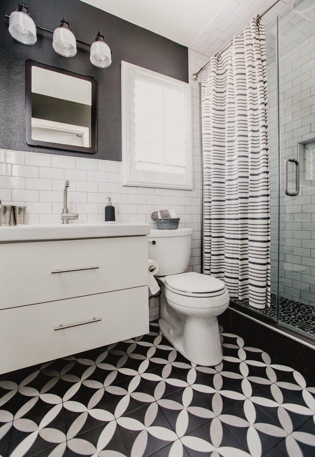 Bathroom black and white bathroom boys bathroom merola tile ...