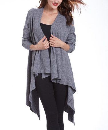 Look what I found on #zulily! Gray Sidetail Open Cardigan #zulilyfinds