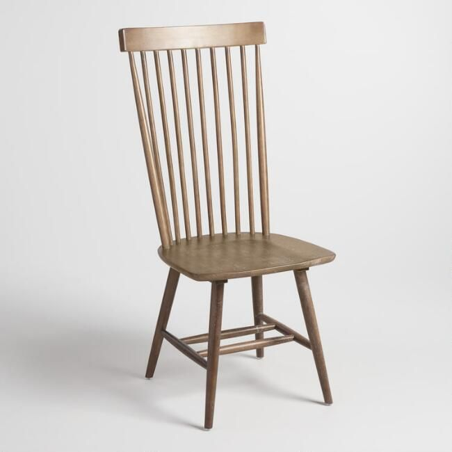 Gray Wood Kamron High Back Windsor Chairs Set Of 2 V1
