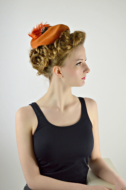 1ec49bd9d Orange Hat, Vintage Hats, Womens 1950s Hats, Evening Hat, Cocktail ...