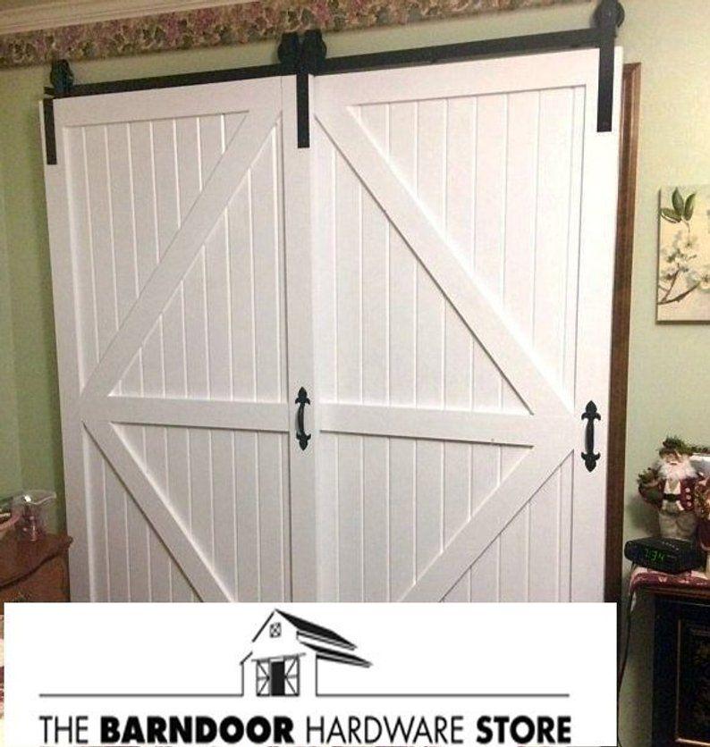 Double Door Single Track Bypass Sliding Barn Door Hardware Kit