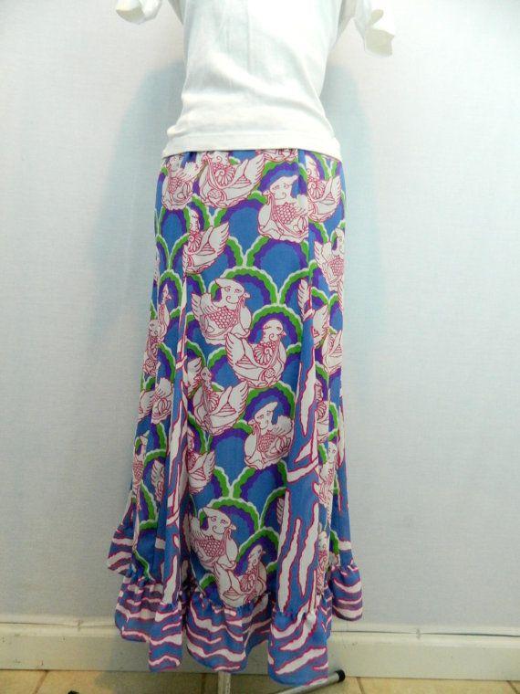 cc648e024 Vintage Funky Print Maxi Skirt Birds Blue Green Purple Designer Diane Fres  Boho Bohemian Gypsy Avante Garde Sheer Printed Plus Size Large