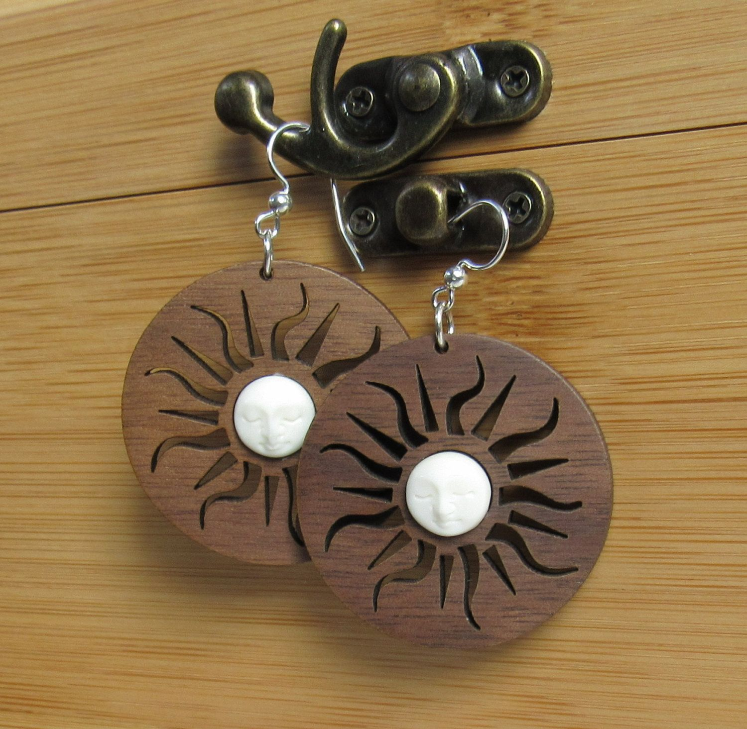 Sun and Moon Earrings, Laser Cut Wood Earrings, Moon Face Earrings, Walnut Earrings, Carved Bone Earrings, Night and Day, Yoga Jewelry,Retro by giveitengraved on Etsy