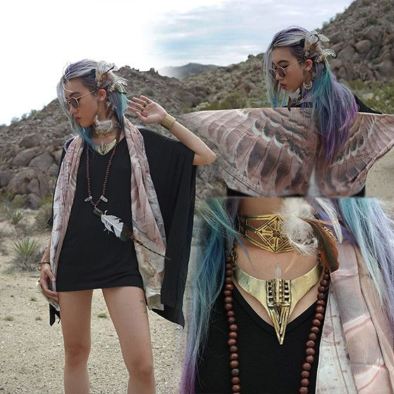 Stardust Bohemian - Lolly Clothing Jashon Dress, Femme Feralle Falcon Bird Wing Span Scarf, Catori Life Feather Ear Cuff, Sanktoleono Cage Choker, Sanktoleono Alice Choker Necklace - Spread your Wings