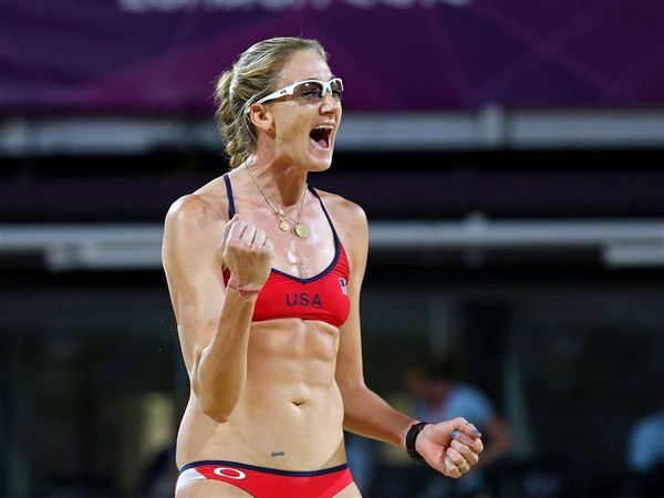 Say what?! Looking back at the London Olympics, beach volleyball player Kerri Walsh Jennings tells TODAY.com she sees signs that she's pregnant (five weeks at the time of her gold medal win): I look at pictures and I'm like, 'God you can tell!' I look thicker. (Cameron Spencer / Getty Images)