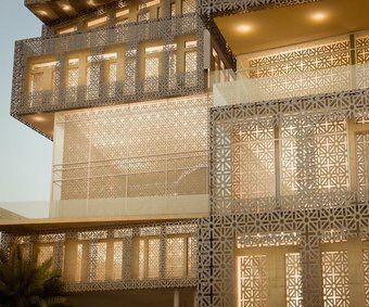 درابزين مشربيات Architect Hotel Exterior Glass Building