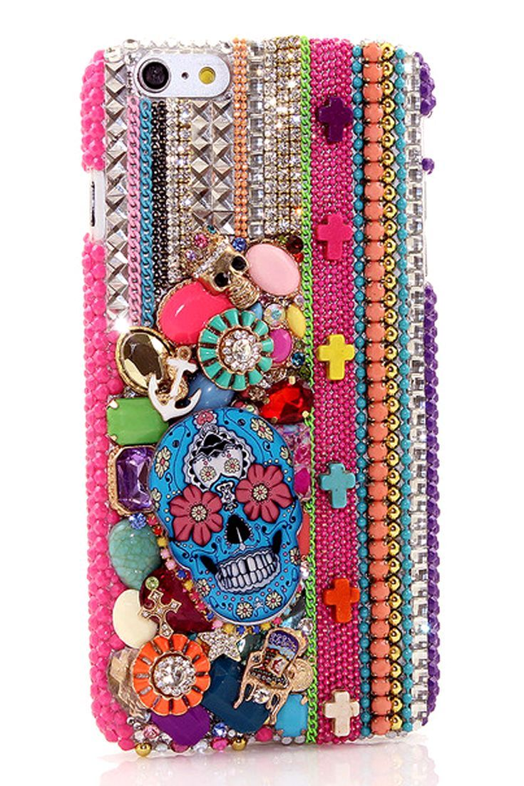 Bling iPhone 6s Plus Sugar Skull Design case protective unique style  handmade for women s fashion 6835977584